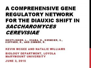 A COMPREHENSIVE GENE REGULATORY NETWORK FOR THE DIAUXIC