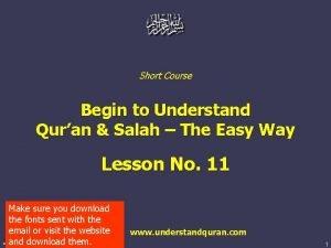 Short Course Begin to Understand Quran Salah The