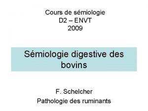 Cours de smiologie D 2 ENVT 2009 Smiologie