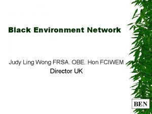 Black Environment Network Judy Ling Wong FRSA OBE