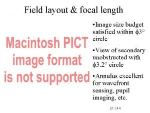 Field layout focal length Image size budget satisfied