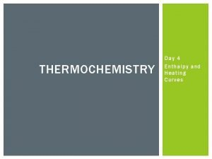 THERMOCHEMISTRY Day 4 Enthalpy and Heating Curves ENTHALPY