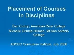 Placement of Courses in Disciplines Dan Crump American