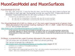 Muon Geo Model and Muon Surfaces Muon Geo
