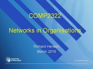 COMP 2322 Networks in Organisations Richard Henson March