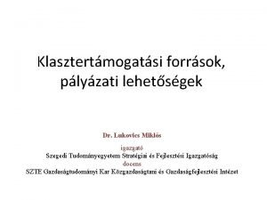 Klasztertmogatsi forrsok plyzati lehetsgek Dr Lukovics Mikls igazgat