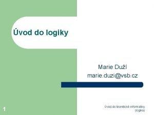 vod do logiky Marie Du marie duzivsb cz