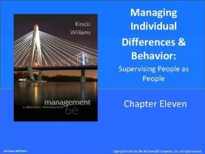 Managing Individual Differences Behavior Supervising People as People
