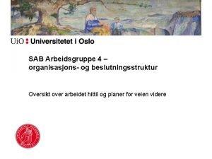 SAB Arbeidsgruppe 4 organisasjons og beslutningsstruktur Oversikt over