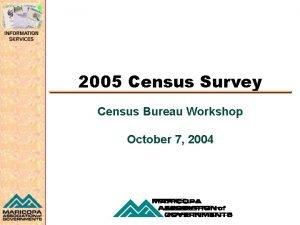 2005 Census Survey Census Bureau Workshop October 7