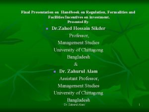 Final Presentation on Handbook on Regulation Formalities and
