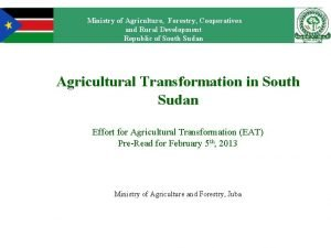 Ministry of Agriculture Forestry Cooperatives and Rural Development