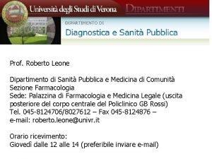 Prof Roberto Leone Dipartimento di Sanit Pubblica e