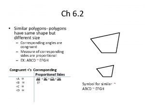 Ch 6 2 Similar polygons polygons have same