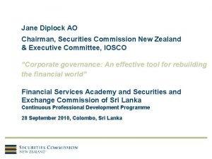 Jane Diplock AO Chairman Securities Commission New Zealand