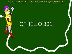 Rakhi L Lalwani Assistant Professor of English SNMV