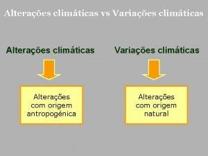Alteraes climticas vs Variaes climticas Alteraes climticas Variaes
