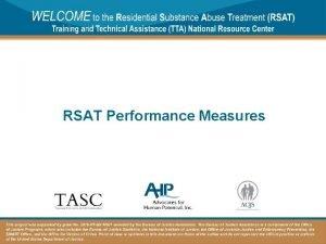 RSAT Performance Measures Housekeeping Functions 392021 2 Housekeeping