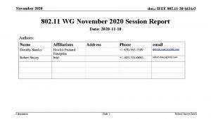 November 2020 doc IEEE 802 11 201631 r
