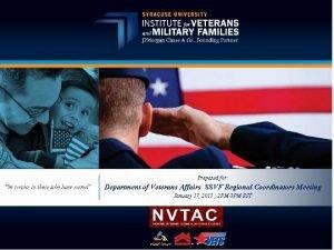 Prepared for Department of Veterans Affairs SSVF Regional