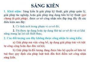 SNG KIN 1 Khi nim Sng kin l