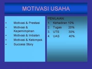 MOTIVASI USAHA Motivasi Prestasi Motivasi Kepemimpinan Motivasi Imbalan