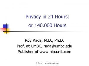 Privacy in 24 Hours or 140 000 Hours