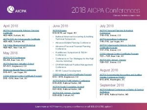April 2018 June 2018 July 2018 AICPA Cybersecurity