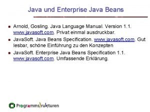 Java und Enterprise Java Beans Arnold Gosling Java