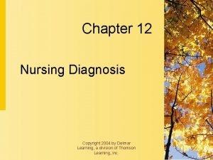 Chapter 12 Nursing Diagnosis Copyright 2004 by Delmar