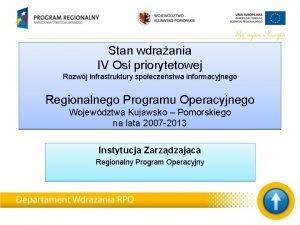 Stan wdraania IV Osi priorytetowej Rozwj infrastruktury spoeczestwa