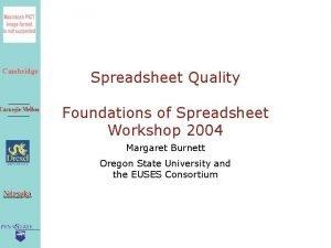 Cambridge Spreadsheet Quality Foundations of Spreadsheet Workshop 2004