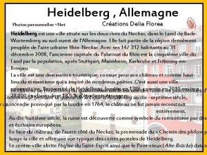 Heidelberg Allemagne Photos personnelles Net Crations Delia Florea
