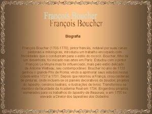 Biografia Franois Boucher 1703 1770 pintor francs notvel