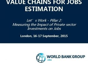 VALUE CHAINS FOR JOBS ESTIMATION Lets Work Pillar