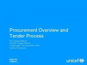 Procurement Overview and Tender Process Pre Tender Meeting