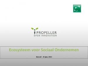 Ecosysteem voor Sociaal Ondernemen Brussel 24 juni 2013