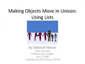 Making Objects Move in Unison Using Lists By