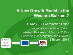 A New Growth Model in the Western Balkans