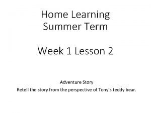 Home Learning Summer Term Week 1 Lesson 2