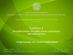 UNIVERSIT DEGLI STUDI DI MACERATA DIPARTIMENTO DI SCIENZE