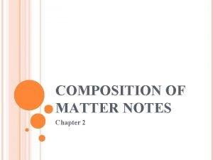 COMPOSITION OF MATTER NOTES Chapter 2 MATTER Matter