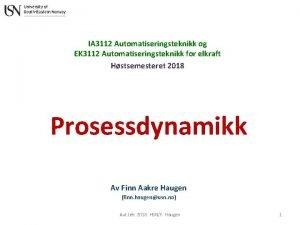 IA 3112 Automatiseringsteknikk og EK 3112 Automatiseringsteknikk for