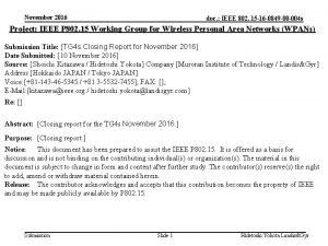 November 2016 doc IEEE 802 15 16 0849