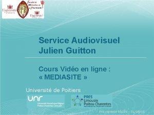 Service Audiovisuel Julien Guitton Cours Vido en ligne