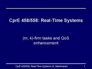 Cpr E 458558 RealTime Systems m kfirm tasks