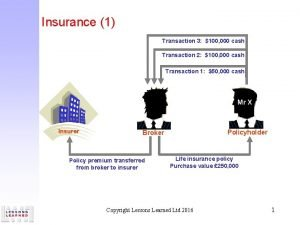 Insurance 1 Transaction 3 100 000 cash Transaction