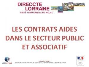 LES CONTRATS AIDES DANS LE SECTEUR PUBLIC ET
