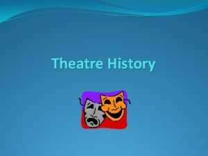Theatre History GREEK THEATRE Considered to be the