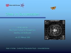Chaos im Sonnensystem Kolloquium des Max PlanckInstituts fr